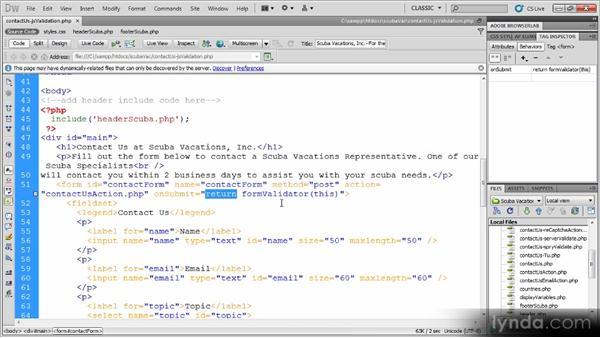 Adding custom validation: Dynamic Dreamweaver Websites: Creating and Validating Forms