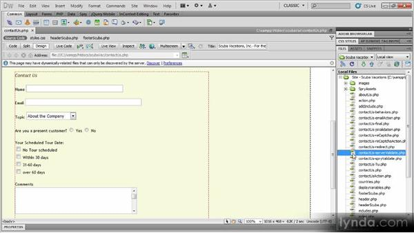 Adding validation: Dynamic Dreamweaver Websites: Creating and Validating Forms