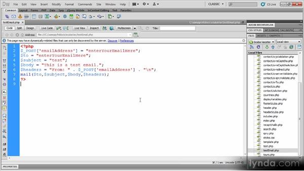 PHP email: Dynamic Dreamweaver Websites: Creating and Validating Forms