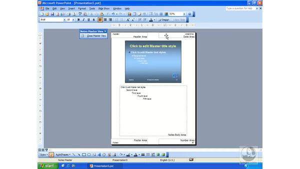 the notes master: PowerPoint 2003 Essential Training