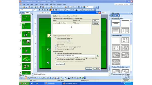 password protection: PowerPoint 2003 Essential Training