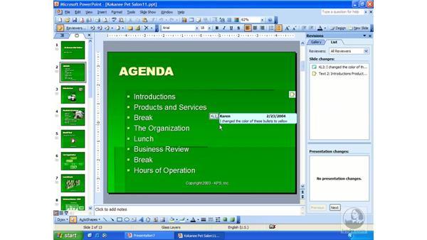 merge revised copies: PowerPoint 2003 Essential Training