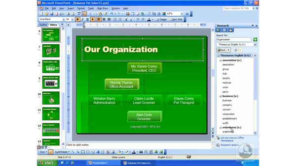 research task pane: PowerPoint 2003 Essential Training