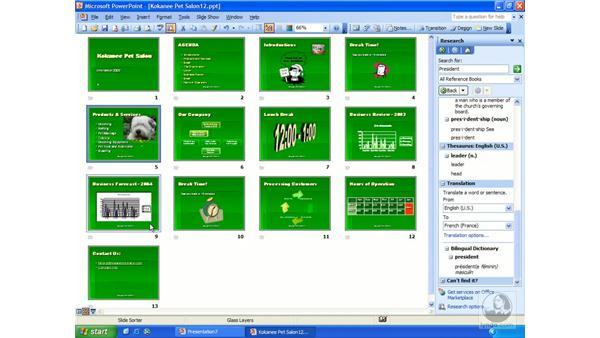 arranging slides: PowerPoint 2003 Essential Training