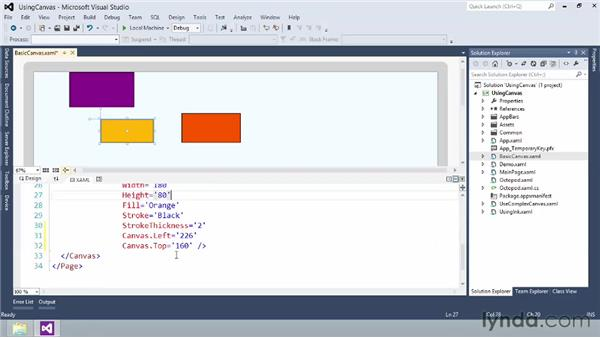 Absolute positioning with the Canvas panel: Building Windows Store Apps Essential Training