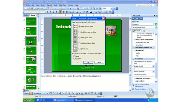 sending to MS Word: PowerPoint 2003 Essential Training