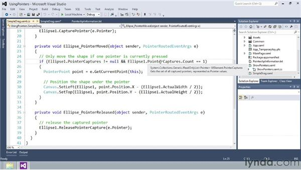 Using pointer events: Building Windows Store Apps Essential Training