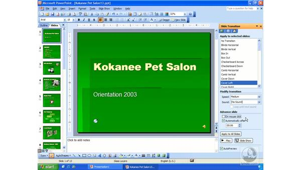 narrations, timing, repeating: PowerPoint 2003 Essential Training
