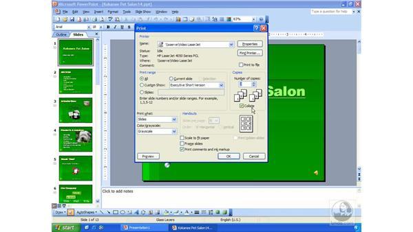 printing slides: PowerPoint 2003 Essential Training