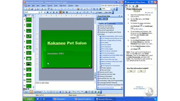 accessing help: PowerPoint 2003 Essential Training