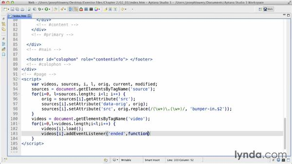 Connecting the main video: HTML5 Projects: Video Bumpers
