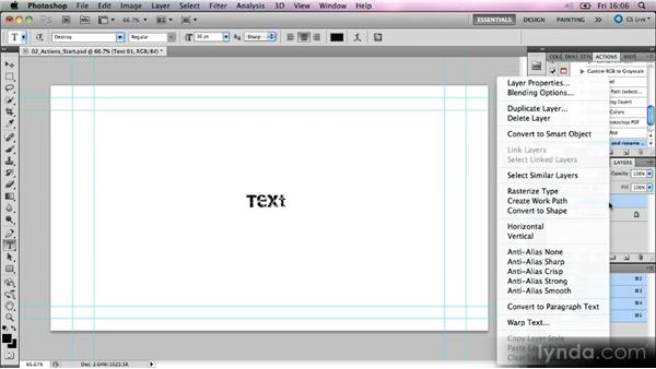 Creating actions in Photoshop: Kinetic Typography Techniques with After Effects
