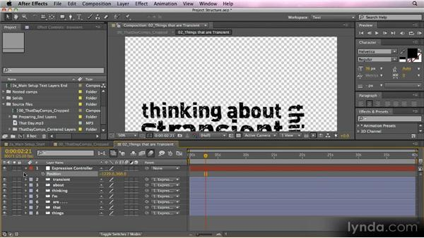 Setting up control layers: Kinetic Typography Techniques with After Effects