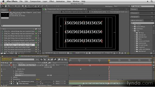 Using text animation presets: Kinetic Typography Techniques with After Effects