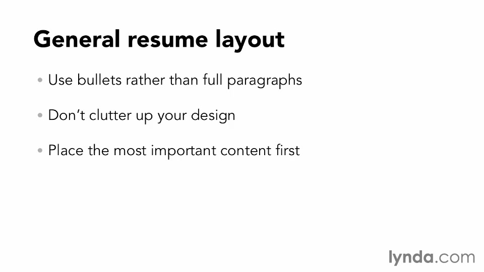 General resume layout and design principles