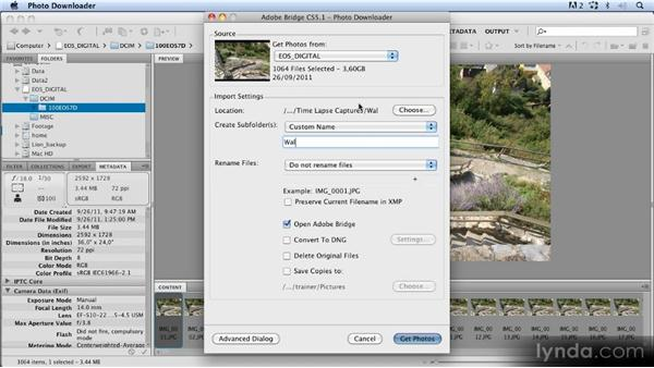 Downloading the images with Bridge: Time-Lapse Photography Workshop
