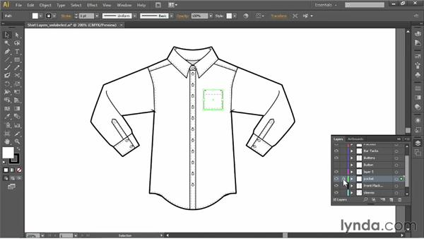Using the Layers panel: Illustrator for Fashion Design: Drawing Flats
