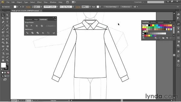 Adding a yoke: Illustrator for Fashion Design: Drawing Flats