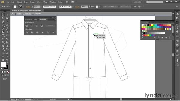 Adding buttons: Illustrator for Fashion Design: Drawing Flats