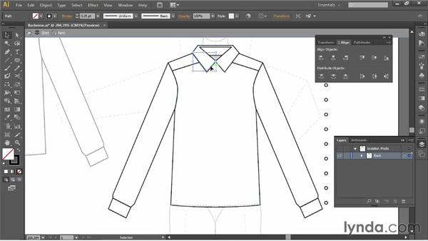 Drawing the back view of the button down: Illustrator for Fashion Design: Drawing Flats