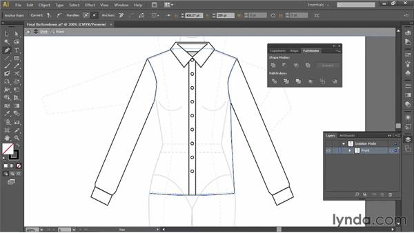 Drawing a fitted shirt with princess seams: Illustrator for Fashion Design: Drawing Flats