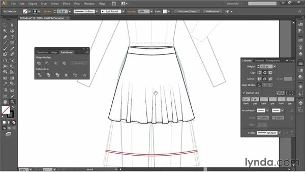 Adding details to the skirt: Illustrator for Fashion Design: Drawing Flats