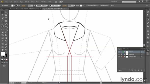 Drawing the lapels: Illustrator for Fashion Design: Drawing Flats