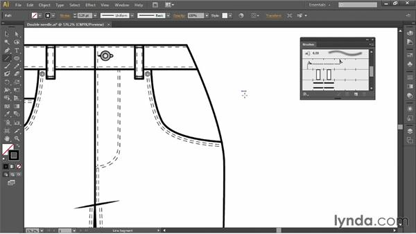 Creating a double-needle top stitch: Illustrator for Fashion Design: Drawing Flats