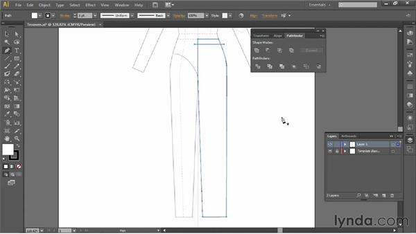 Drawing trousers: Illustrator for Fashion Design: Drawing Flats