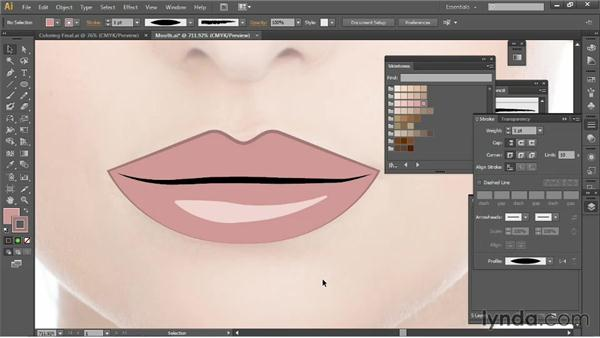 Drawing a mouth: Illustrator for Fashion Design: Drawing Flats