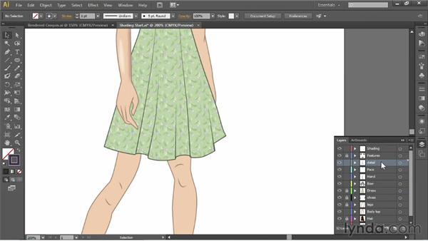 Adding highlights and shading: Illustrator for Fashion Design: Drawing Flats