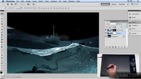Creating layer masks: Up and Running with 3D in Photoshop CS5 Extended
