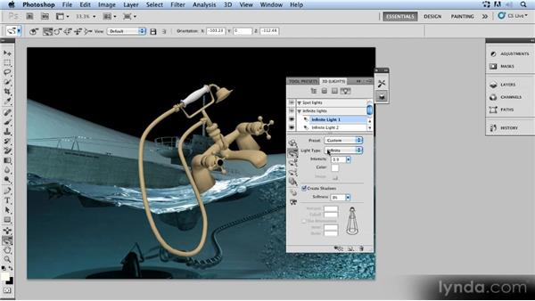Positioning the faucet: Up and Running with 3D in Photoshop CS5 Extended