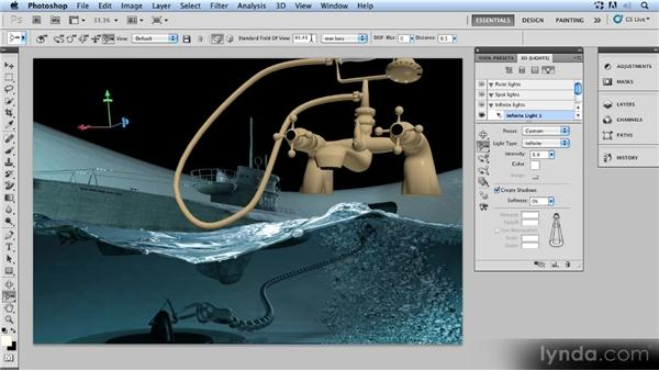 Adapting the camera's focal length: Up and Running with 3D in Photoshop CS5 Extended