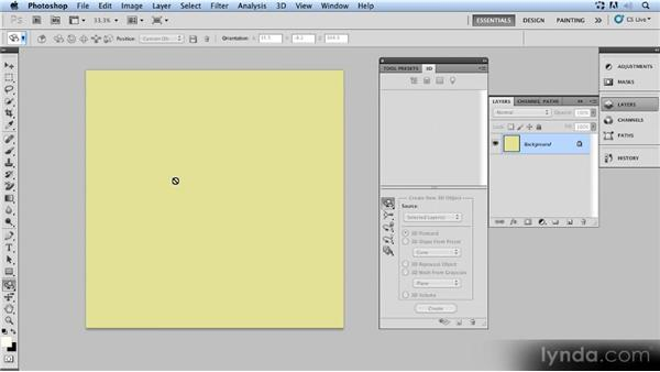 Using a PSD as a texture: Up and Running with 3D in Photoshop CS5 Extended