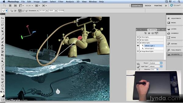 Adjusting the infinite lights: Up and Running with 3D in Photoshop CS5 Extended