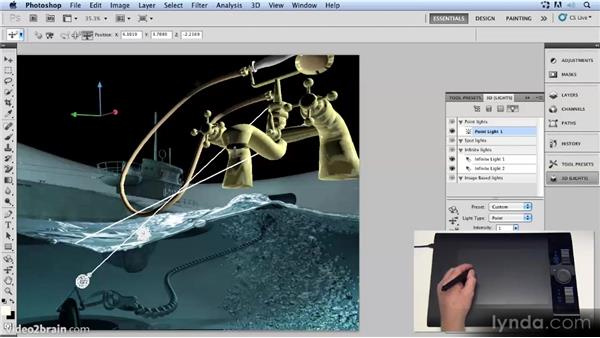 Adding a point light: Up and Running with 3D in Photoshop CS5 Extended