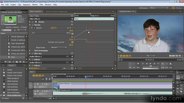 Adjusting opacity in the Effect Controls panel: Compositing with Premiere Pro CS5.5