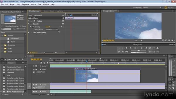 Adjusting opacity on the Timeline: Compositing with Premiere Pro CS5.5