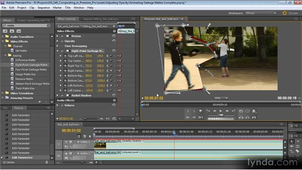 Animating garbage mattes: Compositing with Premiere Pro CS5.5
