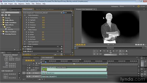 Primary Ultra Key controls: Compositing with Premiere Pro CS5.5