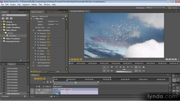 First example of using the ultra keyer: Compositing with Premiere Pro CS5.5