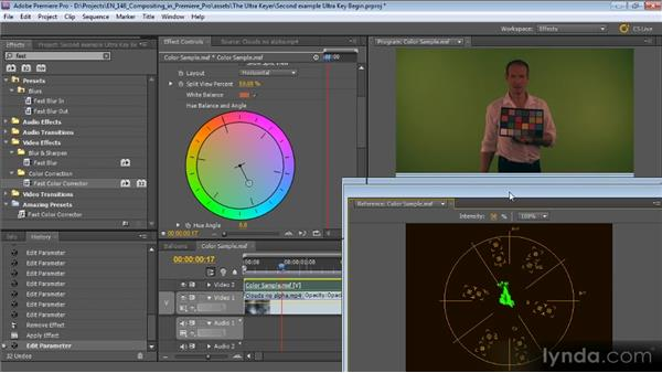 Second example of using the ultra keyer: Compositing with Premiere Pro CS5.5