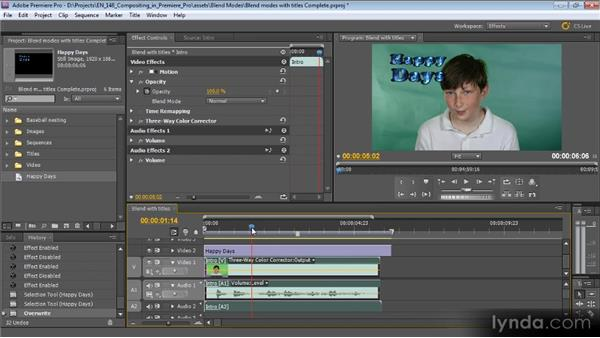 Using blend modes with titles and graphics: Compositing with Premiere Pro CS5.5