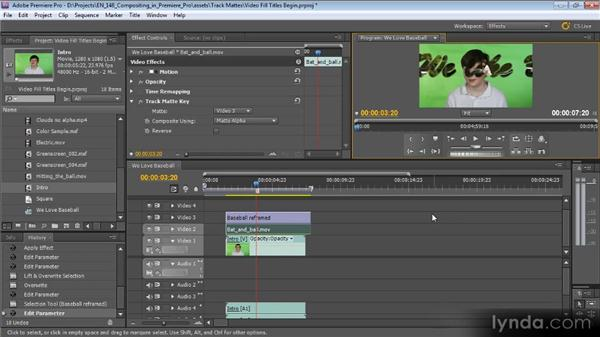 Creating video fill titles with a track matte: Compositing with Premiere Pro CS5.5