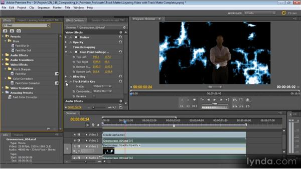 Layering video with a track matte: Compositing with Premiere Pro CS5.5