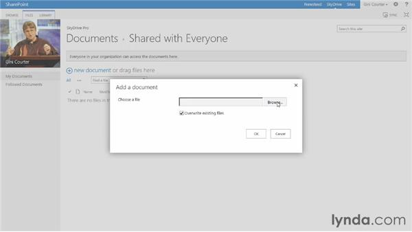 Using OneDrive (formerly called Skydrive): SharePoint 2013 Essential Training
