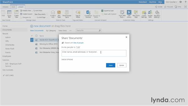 Sharing documents, libraries, and sites: SharePoint 2013 Essential Training