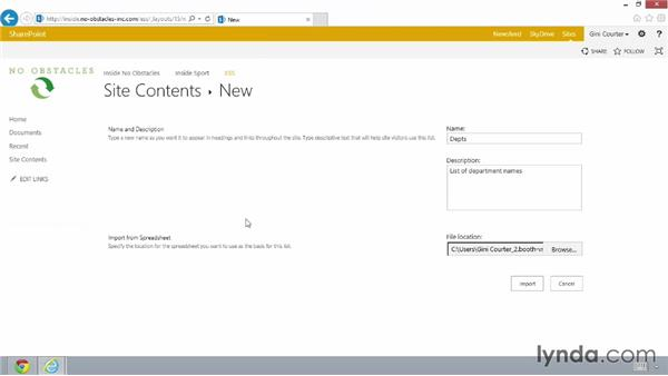 Using the Import Spreadsheet app: SharePoint 2013 Essential Training