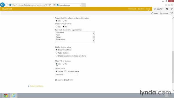 Customizing a library: SharePoint 2013 Essential Training
